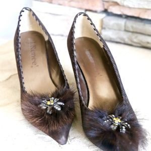 J.Renee Brown Suede Pump Fur & Jewel Enbellish